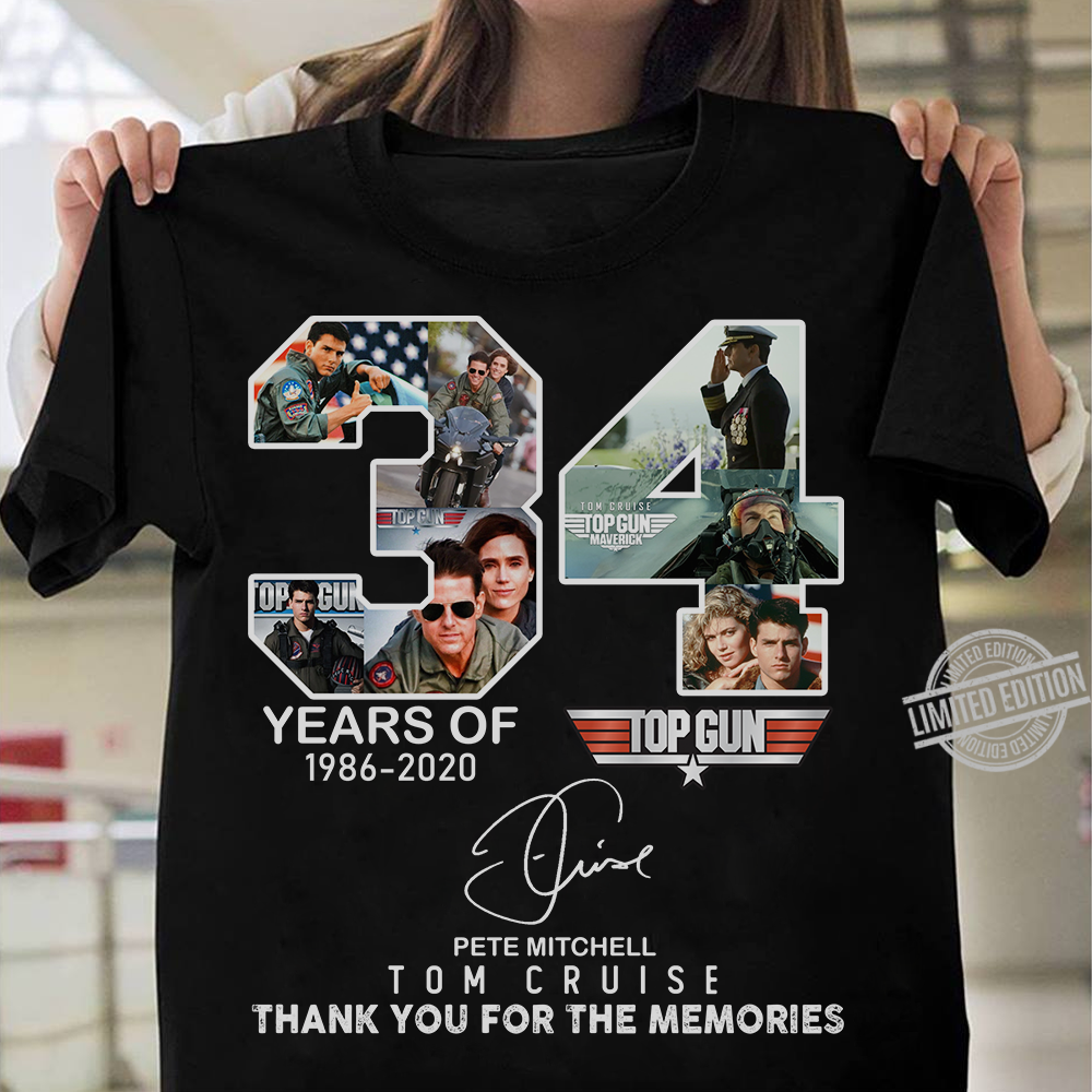 34 Years Of Top Gun Pete Mitchell Tom Cruise Thank You For The Memories Long Sleeve T-Shirt