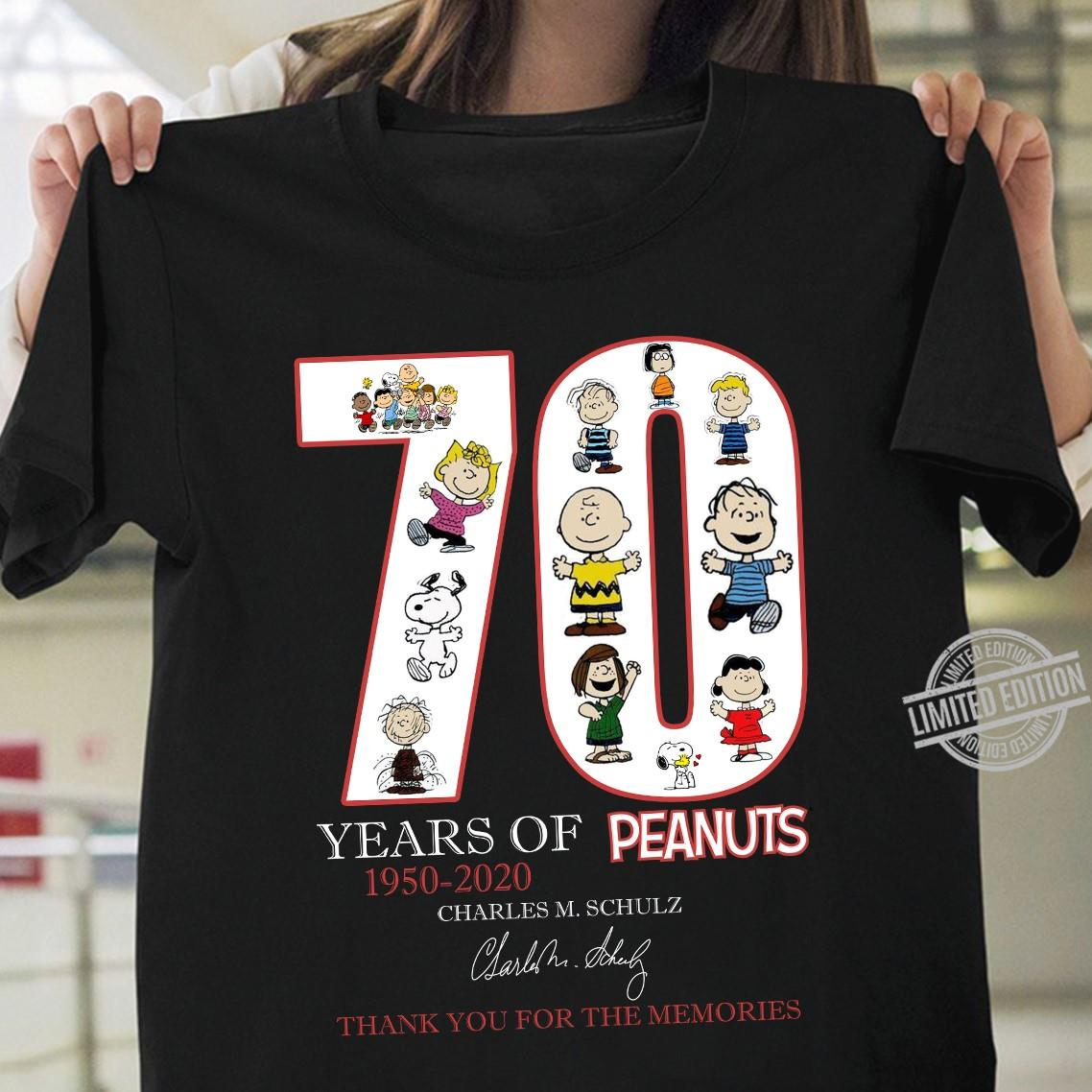 70 Years Of Peanuts 1950 2020 Charles M. Schulz Signature Thank You For The Memories Men T-Shirt