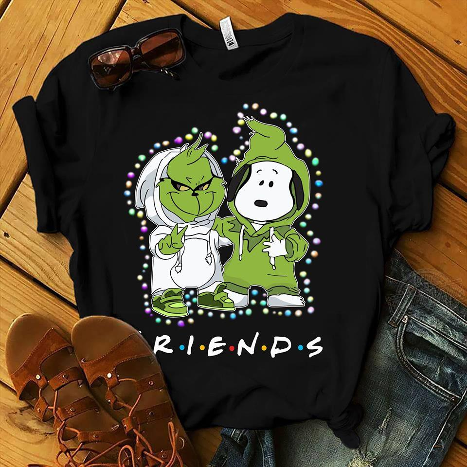 Baby Grinch And Baby Snoopy Friends Light Christmas Hoodie