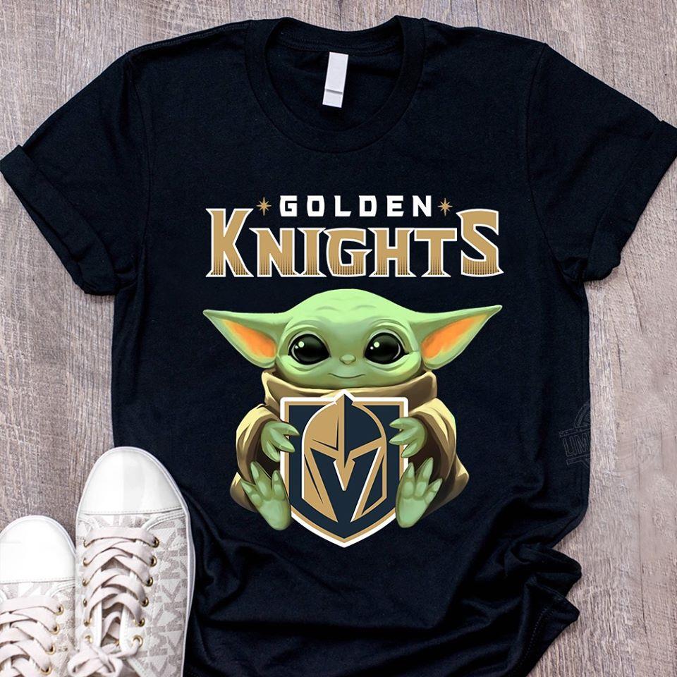 Baby Yoda Hug Golden knights Women T-Shirt