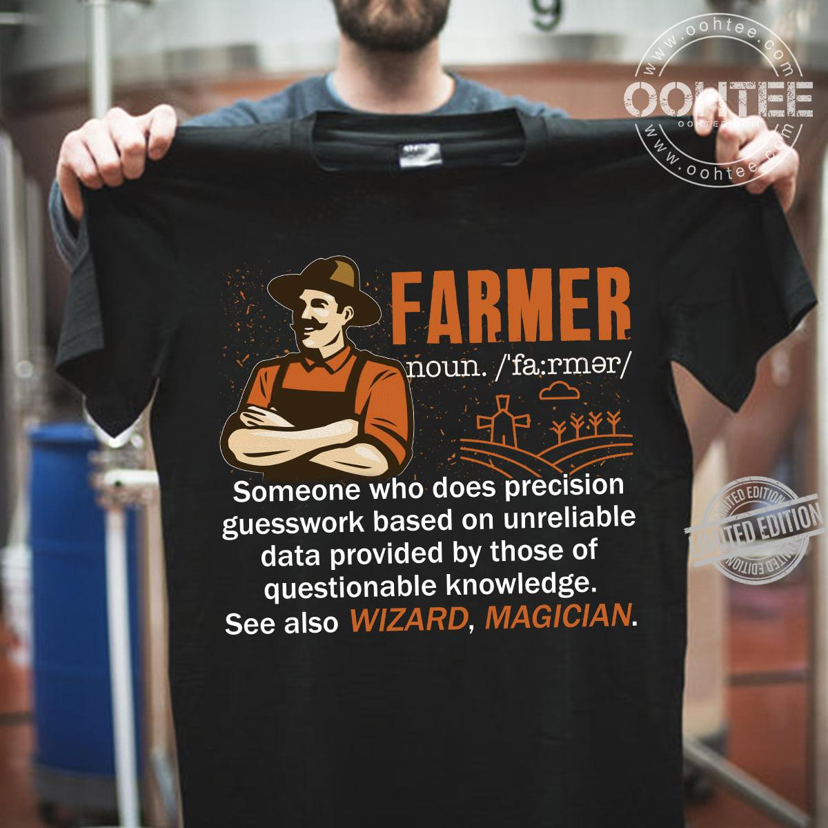 Farmer Someone Who Does Precision Guesswork Based On Unreliable Data Provided By Those Of Questionable Knowledge Women T-Shirt