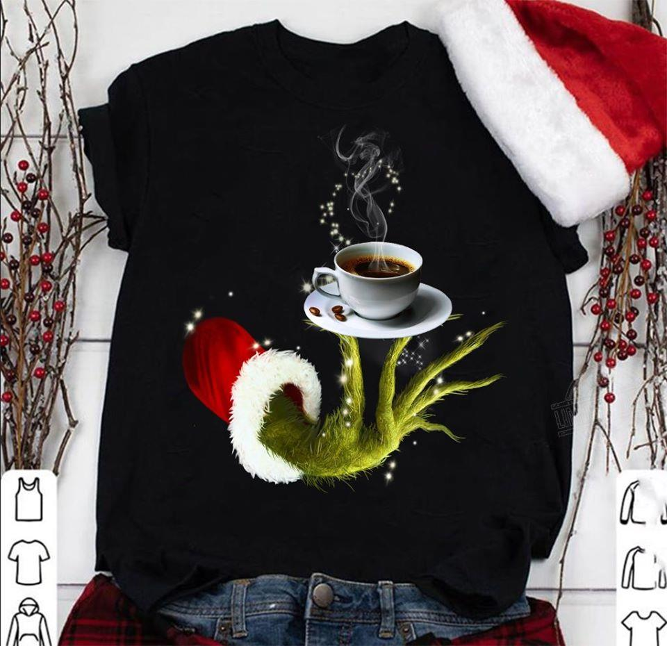 Grinch Hand Holding Coffee Christmas Men T-Shirt