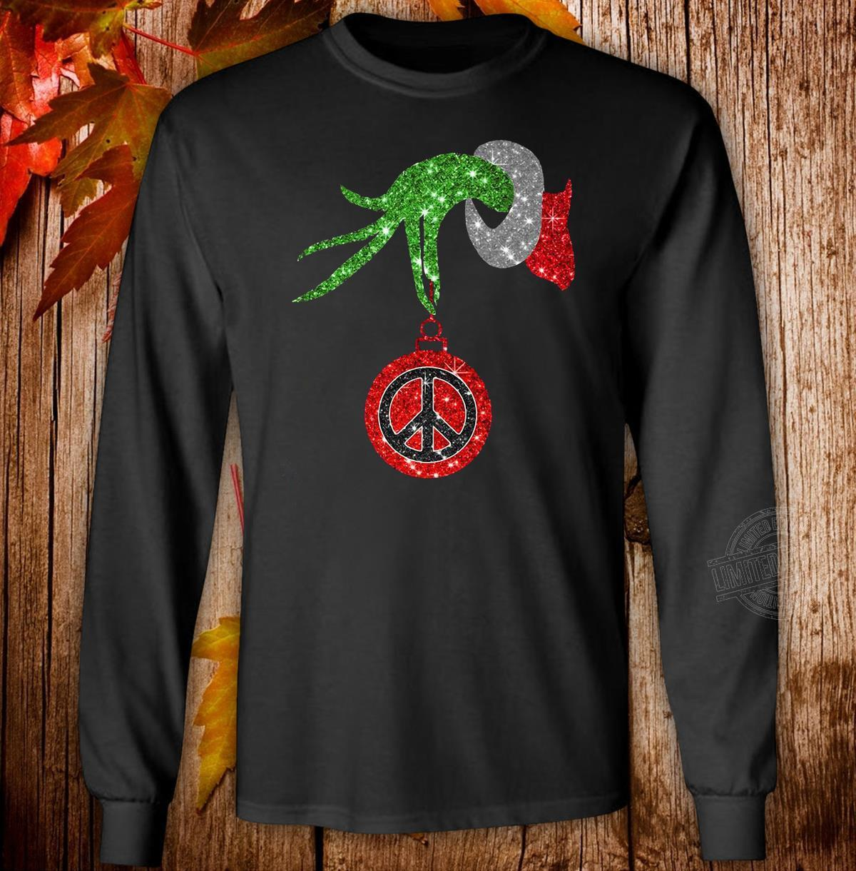 Grinch hand holding peace ornament Christmas Long Sleeve T-Shirt