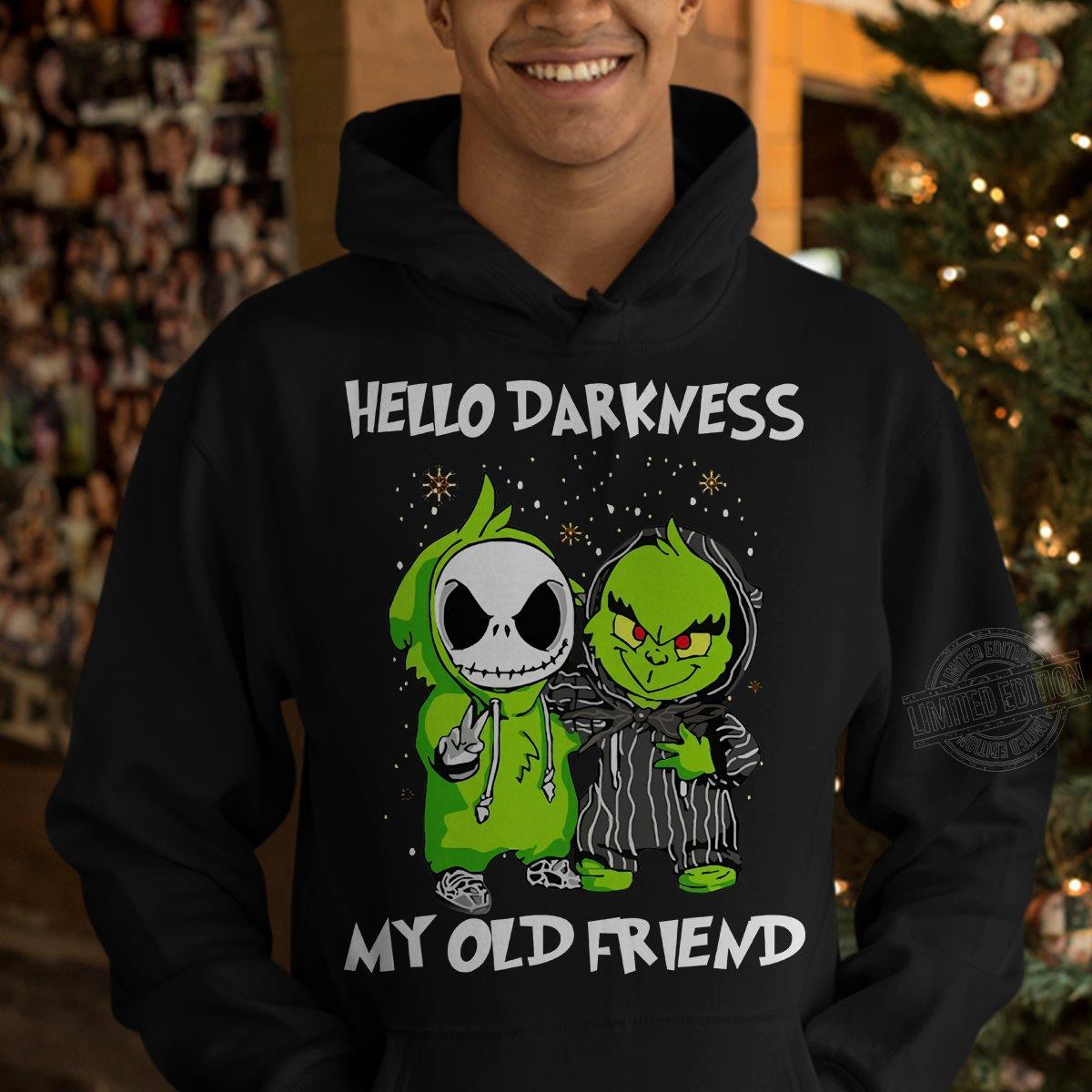 Jack Skellington And Baby Grinch Hello Darkness My Old Friend Sweatshirt