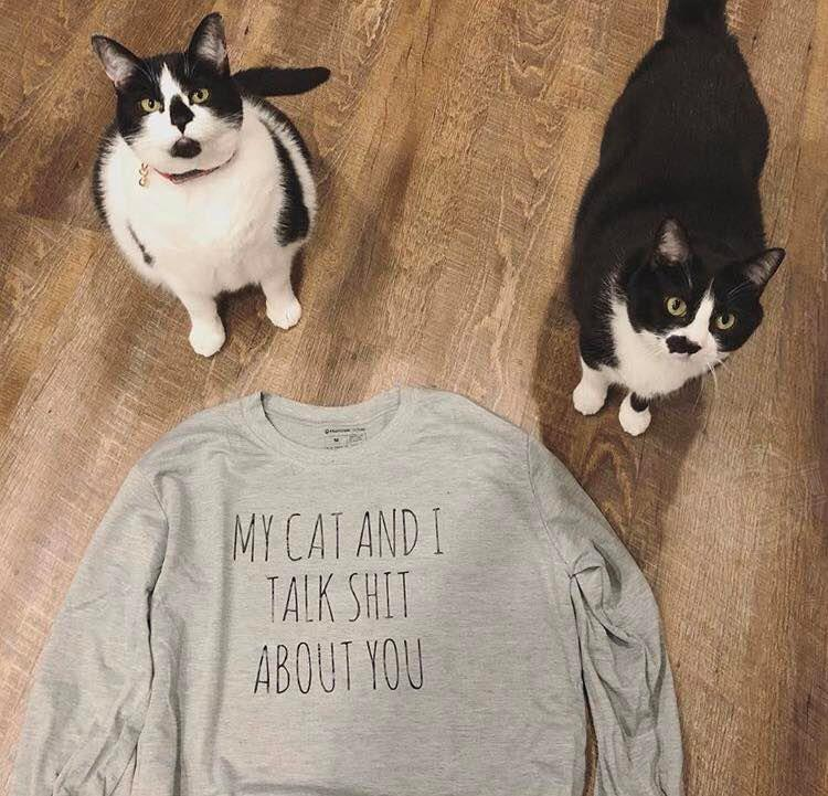 My cat and I talk shit about you Women Jersey Tank Top