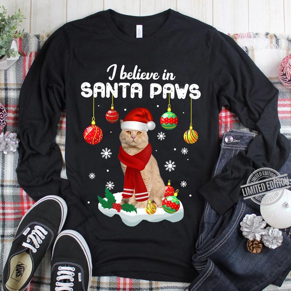 Santa Believe In Santa Paws Christmas Cats Women T-Shirt